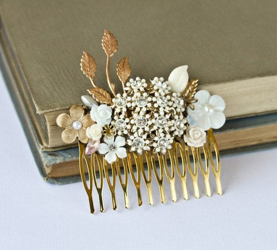 Bridal Hair Comb - Bridal Hair Accessories, Vintage Hair Piece, Shabby Chic Wedding Accessories, White Gold Collage, Something Old, Elegant