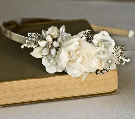 Bridal Headband - Bridal Hair Accessories, Vintage Silver Headband, Shabby Chic Wedding Accessories, Unique Bride Pearl