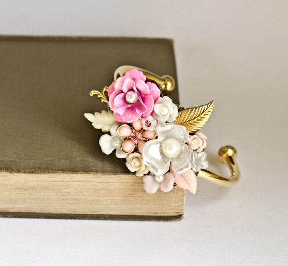 Statement Bracelet - Pink Vintage Bracelet, Shabby Chic Jewelry, Elegant Romantic Floral Gold Cuff Bracelet