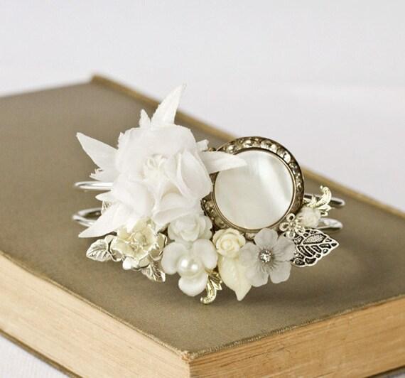 Back In Stock - Bridal Bracelet, Wedding Cuff Bracelet, White Floral Vintage Shabby Chic Bracelet, Rhinestone pearl Bracelet, Something Old