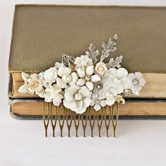 FREE SHIPPING Wedding Hair Comb Bridal Hair Accessories, Vintage Shabby Chic Wedding Hair Accessories, Silver Hair Comb Unique Something Old