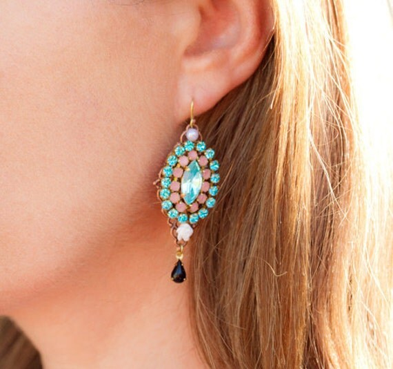 Boho Swarovski Rhinestones Earrings - Colorful Unique Glass Dangle Earrings, Pink, Aqua Blue, Gold Elegant Earrings, Hippie Gypsy Style