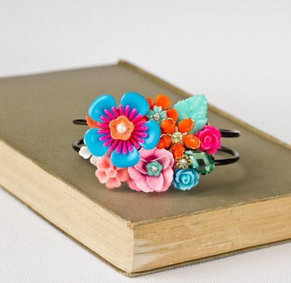 Neon Hippie Statement Bracelet, Pink Blue Orange Gipsy Collage Cuff Bracelet, Spring Summer Fashionable Jewelry, Vintage Retro Boho Style