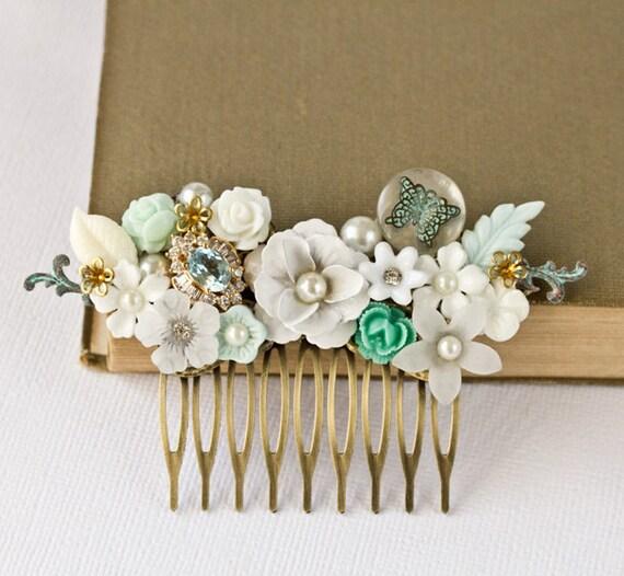 Bridal Hair Comb - Wedding Hair Accessories, Sea Glass Green Beach Wedding, Bridal Hair Accessory, Summer Bride, Vintage Something Blue