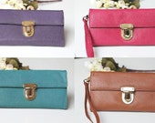Leather Wallet Clutch - with Detachable Strap (4 Colors)