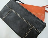 Leather Women Wallet - Long with Stitch Lines Pattern (2 Colors)