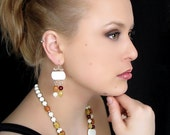 Mother-of-Pearl and stones earrings - Fine jewelry earrings - Mother-of-Pearl, sterling silver (.925) and genuine stones