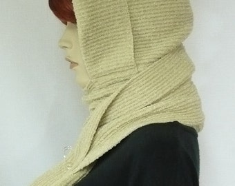 Nice Hood and Scarf Combo in Pale Beige, Knit Cap and Shawl for Fall and Winter, Hooded Scarf, Warm and Comfortable