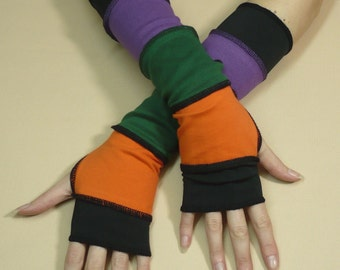 Segmented Multicolor Armwarmers, Jersey Gloves, Orange Purple Green Black Mix, Upcycled Look, Traveler Mittens, Trashy