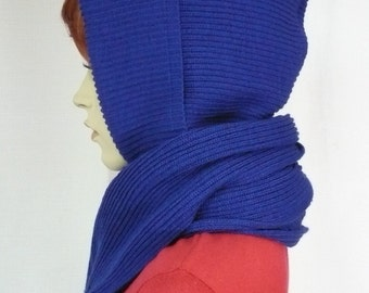 Winter Knit Hood and Shawl Combi in Dark Royal Blue Color, Hooded Scarf for Cold Days, Cobalt Winter Cap, Wrap, Warm Scarf