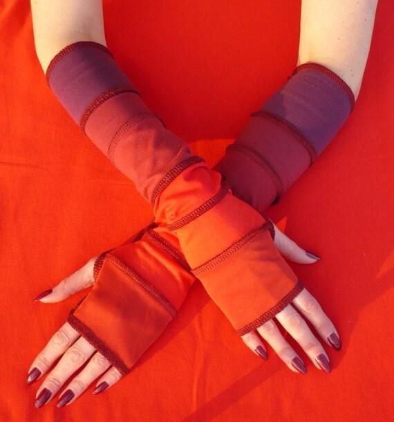 Long Fingerless Gloves Red Burgundy Segmented Traveler