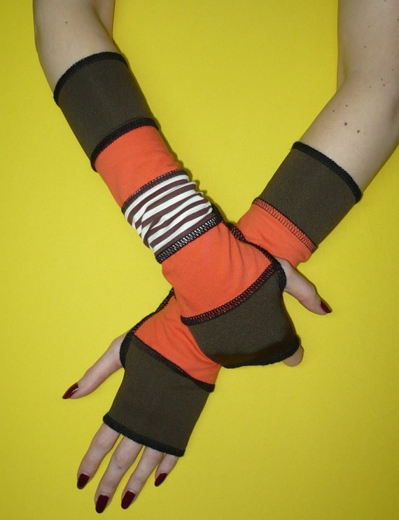 Brown and Orange Fingerless Gloves, Jersey Armwarmers with Thumb Holes, Traveler Sleeves, Striped, Recycled Look, Warm color Mix