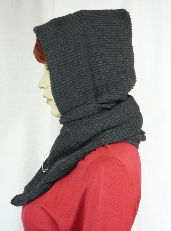 ANTHRACITE Hooded Scarf, Long Warm Knit Shawl with Hood Combo, Headpiece, Unisex Wrap, Autumn Winter
