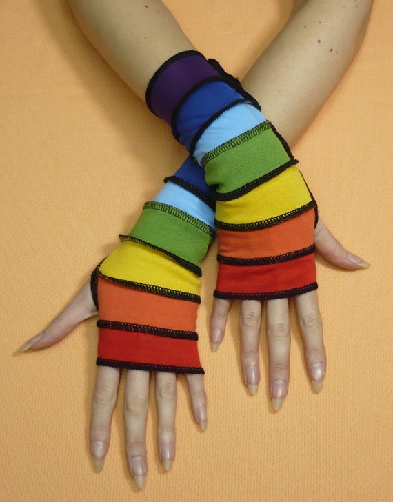 Short Sunny Rainbow Armwarmers in Upcycled Look, Fingerless Multicolor Gloves, Red, Orange, Green, Yellow, Blue, Purple, Long Jersey Mittens