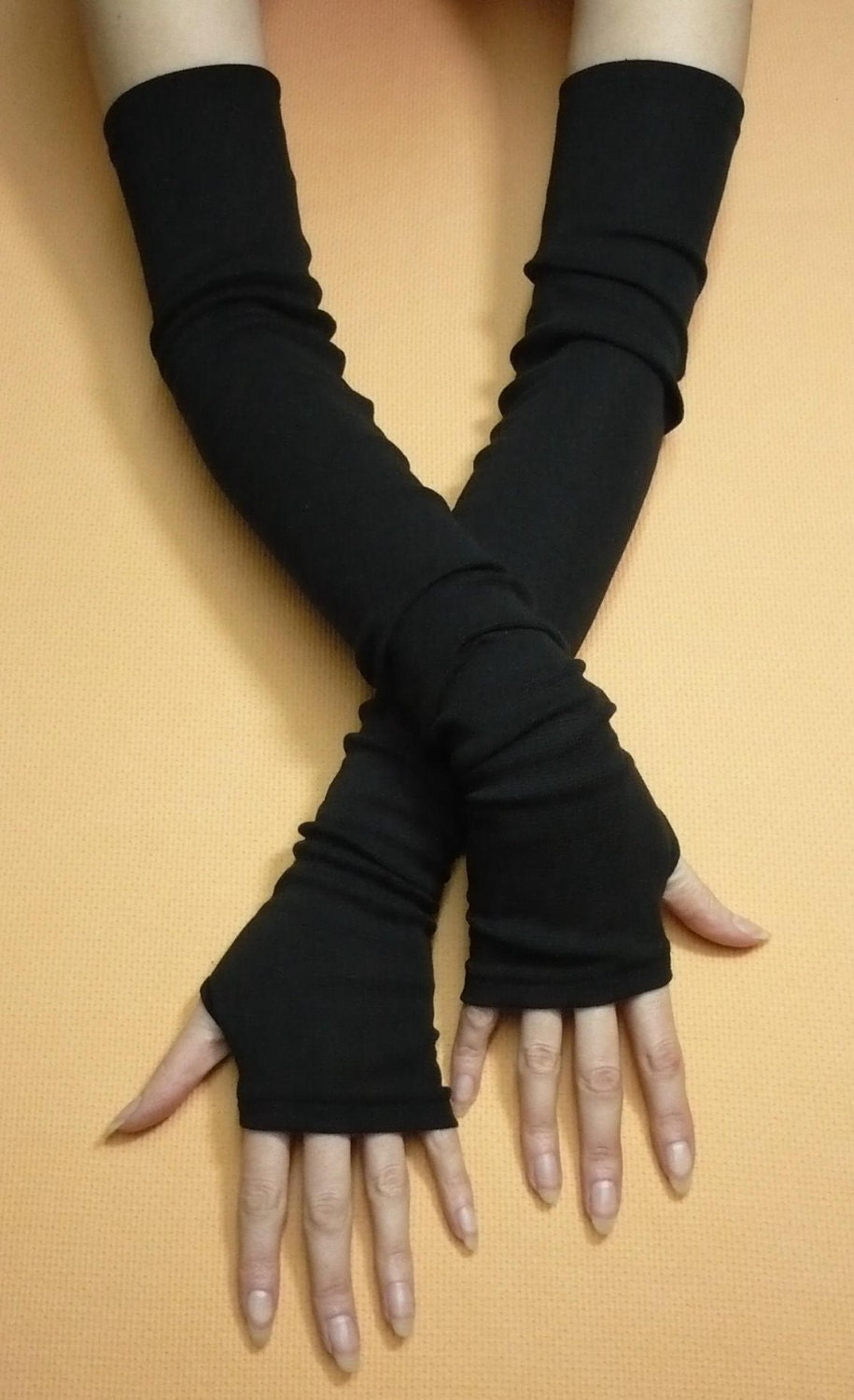 Ladies leather gloves australia - Extra Long Black Armwarmers With Thumb Holes Jersey Fingerless Gloves In Gothic And Cyber Style Tribal Wicca Dance