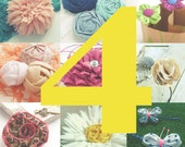 SALE - any 4 Fabric flower tutorials - pay less - pdf easy beginner ebook how to - ANY pattern of 6/6.5/6.90/7.50 PROMO % discount