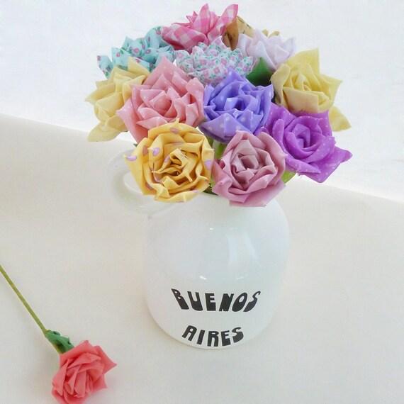 Fabric Flower Wedding Bouquet Tutorial: Fabric Flowers Tutorial & Ribbon Roses PDF Bouquet Or Vase