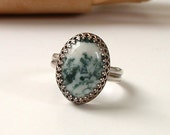 Green Tree Agate Cabochon and Sterling Silver Ring Handmade Ring Natural Stone Ring