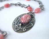 Rhodochrosite and Sterling Necklace