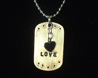 Nugold Dog Tag with Hematite Heart