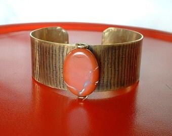 Nugold Cuff Bracelet with Red Jasper Bead Metalwork Cuff Bracelet