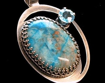 Crazy Lace Agate and Swiss Blue Topaz Pendant Sterling Silver Pendant Metalwork Necklace