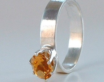 Oval Citrine and Sterling Silver Ring Gemstone Ring Handmade Silver Ring