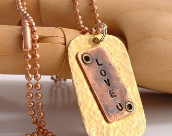 Nugold and Copper Love Dog Tag Necklace