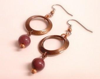 Copper Hoop and Mookite Earrings