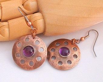 Copper Disk and Amethyst  Dangle Earrings