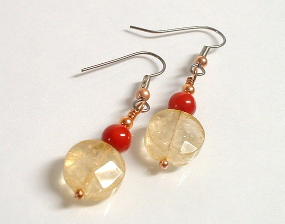 Faceted Citrine and Red Coral Beaded Earrings