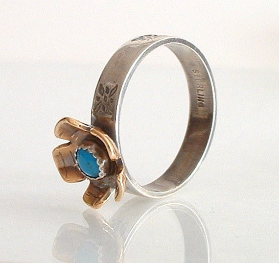 Sterling Silver, Bronze, and Turquoise Ring