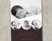 "birth announcement baby girl boy photo card - ""Baby Vignette"""