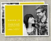 "modern photo save the date cards - ""Raining Love"""
