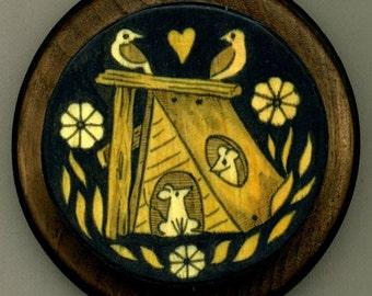 Mounted print wood art- Lovebirds