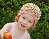Childrens Hat - Cotton Summer Breeze Hat in Pink and Lime Green 6-12 Months