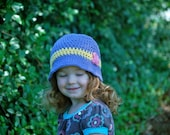 Childrens Hat-Cotton Bucket Hat with Butterfly in Lavender 2T-4T Toddler