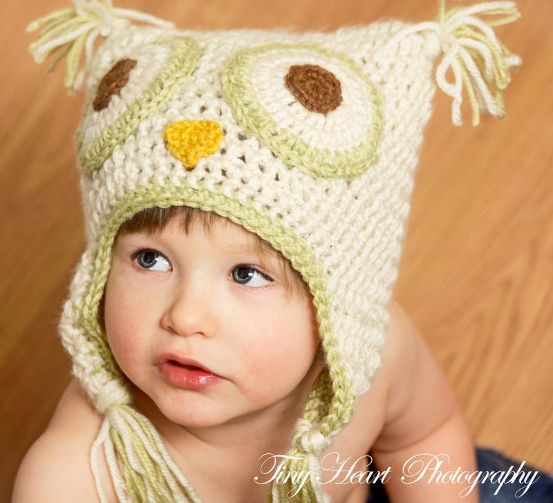 Crochet Pattern For Newborn Owl Hat : PDF Crochet Pattern Crochet Owl Hat 6M to Adult