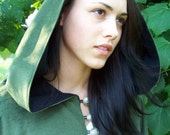 Draco- Green Velvet Cloak lined with Black Flannel- Silver Dragon Buttons