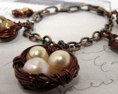 Robin's Egg Five 5 Nest Charms Bracelet Antique Copper CUSTOM PEARL COLOR