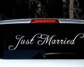JUST MARRIED wedding decal - custom getaway car
