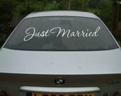 JUST MARRIED script heart wedding decal - custom getaway car