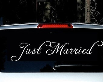 JUST MARRIED wedding decal - custom getaway car