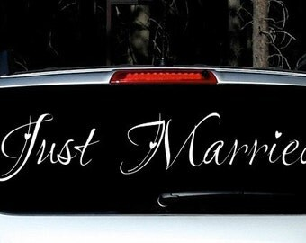 JUST MARRIED hearts wedding decal - custom getaway car
