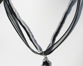 Black Onyx Wire Sculpted Ribbon Necklace
