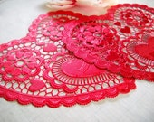 Mini Red Foil Paper Heart Doilies / Lot of 3 / Junk Journal / Valentine's Day