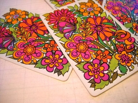 Charming Set of Vintage Playing Cards - Retro Bright and Funky Floral - White