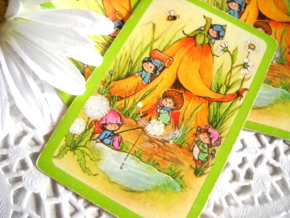 Charming Set of Vintage Playing Cards - Woodland Frolic - Bright Green