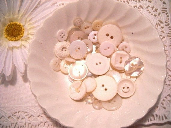 Charming Lot of Vintage Buttons - Set of 50 - Winter White