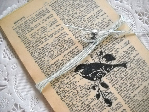 Charming Bundle of Stamped Vintage Dictionary Pages - Sweet Spring Birds
